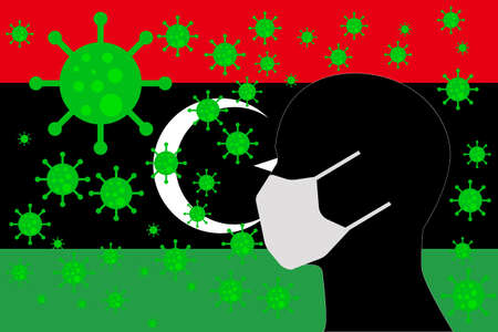 Human using a Mouth Face Masks or  Mouth Cover surrounded with virus with LIBYA flag 版權商用圖片 - 154251229