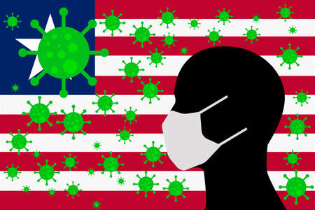 Human using a Mouth Face Masks or  Mouth Cover surrounded with virus with LIBERIA flag 向量圖像