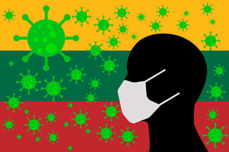 Human using a Mouth Face Masks or  Mouth Cover surrounded with virus with LITHUANIA flag 向量圖像