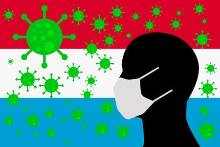 Human using a Mouth Face Masks or  Mouth Cover surrounded with virus with LUXEMBOURG flag