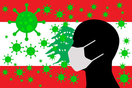 Human using a Mouth Face Masks or  Mouth Cover surrounded with virus with LEBANON flag 版權商用圖片 - 154251243