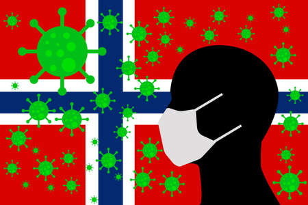 Human using a Mouth Face Masks or Mouth Cover ro surrounded wiht virus with NORWAY flag