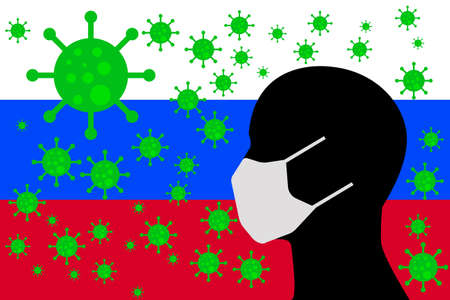 Human using a Mouth Face Masks or Mouth Cover ro surrounded wiht virus with Russia flag