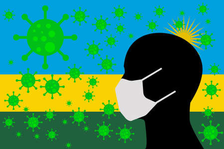 Human using a Mouth Face Masks or Mouth Cover ro surrounded wiht virus with RWANDA flag