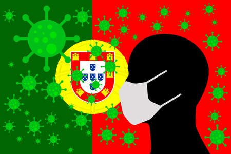 Human using a Mouth Face Masks or Mouth Cover ro surrounded wiht virus with PORTUGAL flag