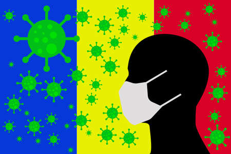 Human using a Mouth Face Masks or Mouth Cover ro surrounded wiht virus with ROMANIA flag 向量圖像