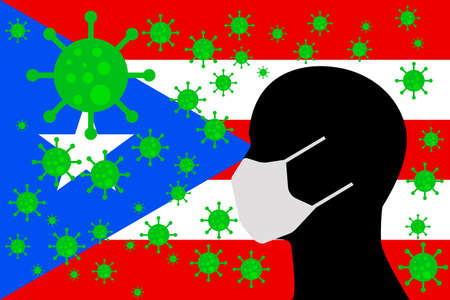 Human using a Mouth Face Masks or Mouth Cover ro surrounded wiht virus with PUERTO RICO flag 向量圖像