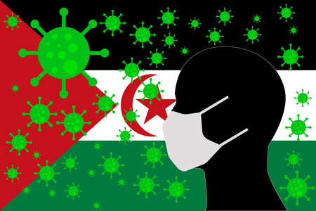 Human using a Mouth Face Masks or Mouth Cover ro surrounded wiht virus with SAHRAWI ARAB DEMOCRATIC REPUBLIC flag