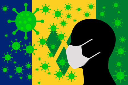 Human using a Mouth Face Masks or Mouth Cover ro surrounded wiht virus with VINCENT AND THE GRENADINES flag