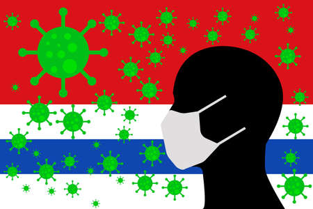 Human using a Mouth Face Masks or Mouth Cover ro surrounded wiht virus with SAN BARTOLOME flag