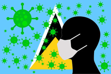 Human using a Mouth Face Masks or Mouth Cover ro surrounded wiht virus with SAINT LUCIA flag