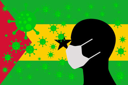Human using a Mouth Face Masks or Mouth Cover ro surrounded wiht virus with SAO TOME AND PRINCIPE flag