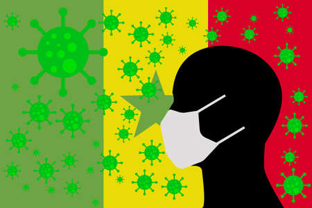 Human using a Mouth Face Masks or  Mouth Cover ro surrounded wiht virus with SENEGAL flag