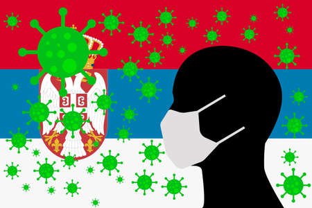 Human using a Mouth Face Masks or Mouth Cover ro surrounded wiht virus with SERBIA flag