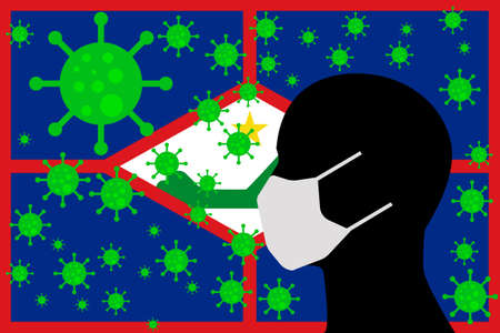 Human using a Mouth Face Masks or  Mouth Cover ro surrounded wiht virus with  flag