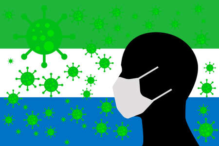 Human using a Mouth Face Masks or  Mouth Cover ro surrounded wiht virus with SIERRA LEONE flag 向量圖像