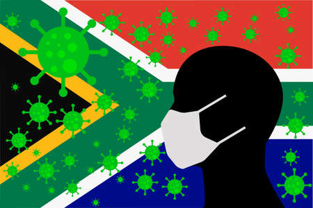 Human using a Mouth Face Masks or  Mouth Cover ro surrounded wiht virus with SOUTH AFRICA flag