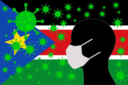 Human using a Mouth Face Masks or  Mouth Cover ro surrounded wiht virus with SOUTH SUDAN flag