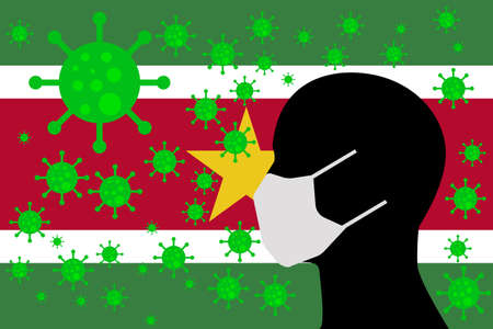Human using a Mouth Face Masks or  Mouth Cover ro surrounded wiht virus with SURINAME flag