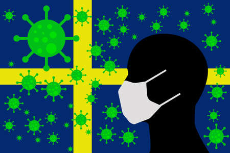Human using a Mouth Face Masks or  Mouth Cover ro surrounded wiht virus with SWEDEN flag