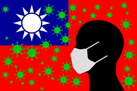Human using a Mouth Face Masks or  Mouth Cover ro surrounded wiht virus with TAIWAN flag