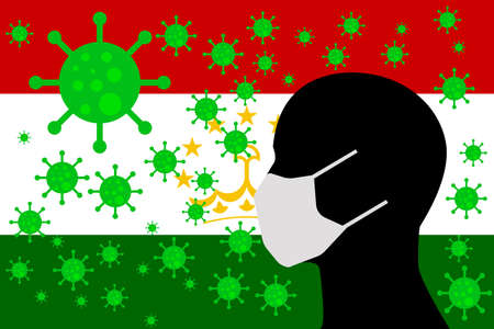 Human using a Mouth Face Masks or  Mouth Cover ro surrounded wiht virus with TAJIKISTAN flag