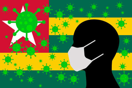 Human using a Mouth Face Masks or  Mouth Cover ro surrounded wiht virus with TOGO flag