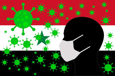 Human using a Mouth Face Masks or  Mouth Cover ro surrounded wiht virus with SYRIA flag 向量圖像