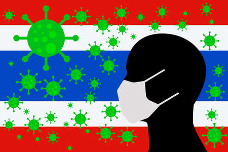 Human using a Mouth Face Masks or  Mouth Cover ro surrounded wiht virus with THAILAND flag 向量圖像