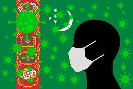 Human using a Mouth Face Masks or  Mouth Cover ro surrounded wiht virus with TURKMENISTAN flag 向量圖像