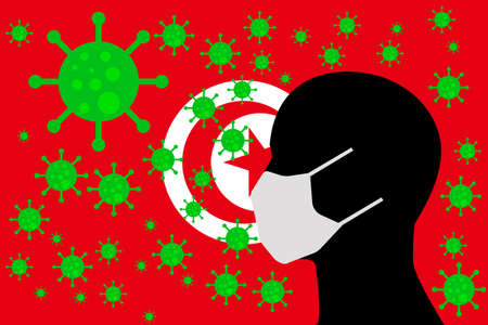 Human using a Mouth Face Masks or  Mouth Cover ro surrounded wiht virus with TUNISIA flag