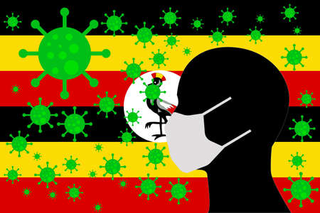 Human using a Mouth Face Masks or  Mouth Cover ro surrounded wiht virus with UGANDA flag 向量圖像