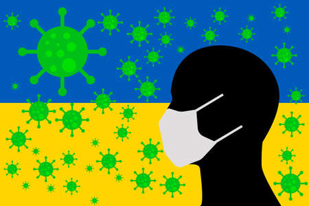 Human using a Mouth Face Masks or  Mouth Cover ro surrounded wiht virus with UKRAINE flag