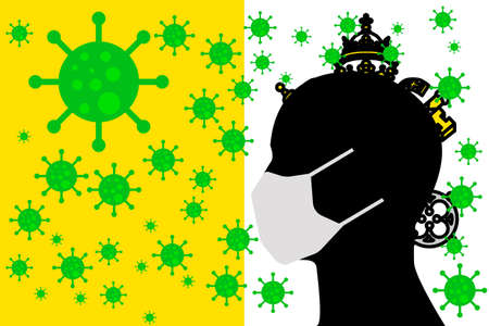 Human using a Mouth Face Masks or  Mouth Cover ro surrounded wiht virus with VATICAN CITY flag