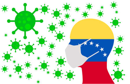 Human using a Mouth Face Masks or  Mouth Cover ro surrounded wiht virus with VENEZUELA flag