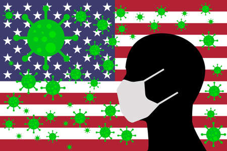 Human using a Mouth Face Masks or  Mouth Cover ro surrounded wiht virus with USA flag UNITED STATES OF AMERICA 向量圖像