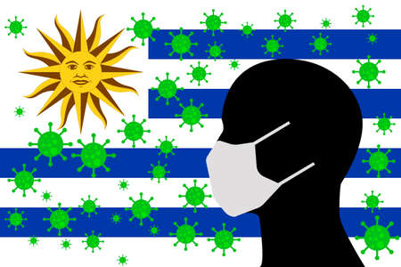 Human using a Mouth Face Masks or  Mouth Cover ro surrounded wiht virus with URUGUAY flag