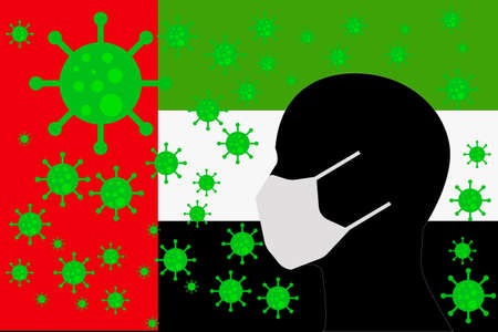 Human using a Mouth Face Masks or  Mouth Cover ro surrounded wiht virus with UNITED ARAB EMIRATES flag