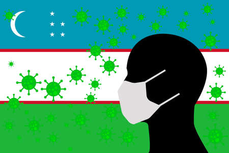 Human using a Mouth Face Masks or  Mouth Cover ro surrounded wiht virus with UZBEKISTAN flag