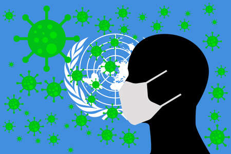 Human using a Mouth Face Masks or  Mouth Cover ro surrounded wiht virus with UNITED NATIONS flag 向量圖像