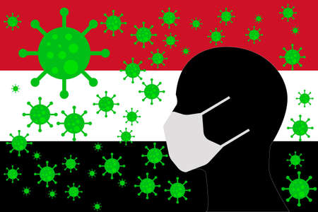 Human using a Mouth Face Masks or  Mouth Cover ro surrounded wiht virus with YEMEN flag 向量圖像