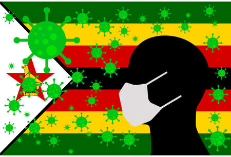 Human using a Mouth Face Masks or  Mouth Cover ro surrounded wiht virus with ZIMBABWE flag