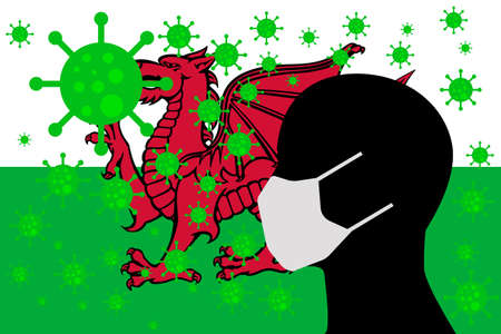Human using a Mouth Face Masks or  Mouth Cover ro surrounded wiht virus with WALES flag