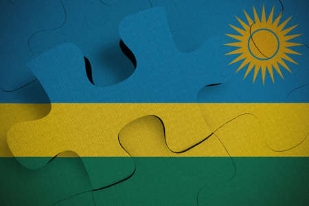 Composition of the concept of crisis and integration of a country Rwanda FLAG PAINTED ON PUZZLE 3D RENDER
