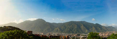 View of the city of Caracas and its iconic mountain el Avila or Waraira Repano. Stock Photo