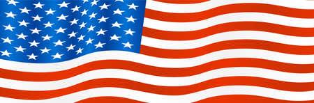 Beautiful USA United States of America flag waving vector illustration.