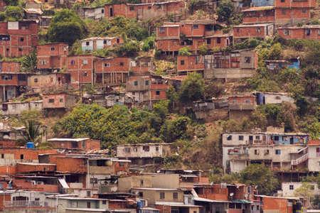 Awesome view of Artigas and Moran Slums in green hills Caracas Venezuela.