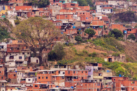 Awesome view of  Artigas and Guarataro Slums in green hills Caracas Venezuela.