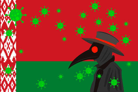 Black plague doctor surrounded by viruses with copy space with BELARUS flag.