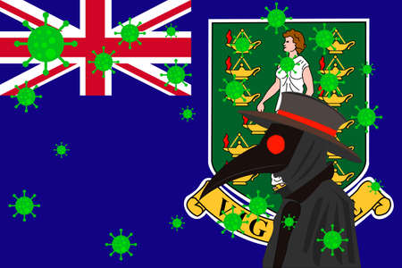Black plague doctor surrounded by viruses with copy space with BRITISH VIRGIN ISLANDS flag.